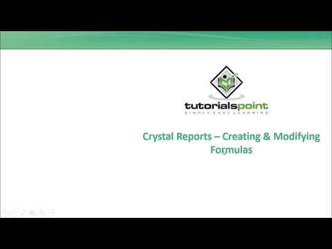 SAP Crystal Reports - Creating And Modifying Formulas
