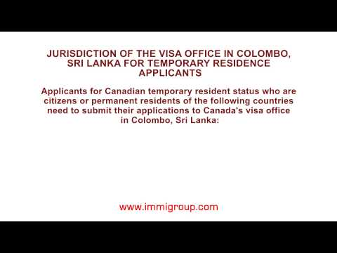 Jurisdiction of the visa office in Colombo, Sri Lanka for temporary residence applicants