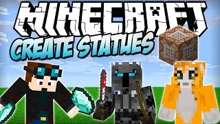 Minecraft | Player Statues Using COMMAND BLOCKS - ADD ANY SKIN! The Diamond Minecart, PopularMMOs