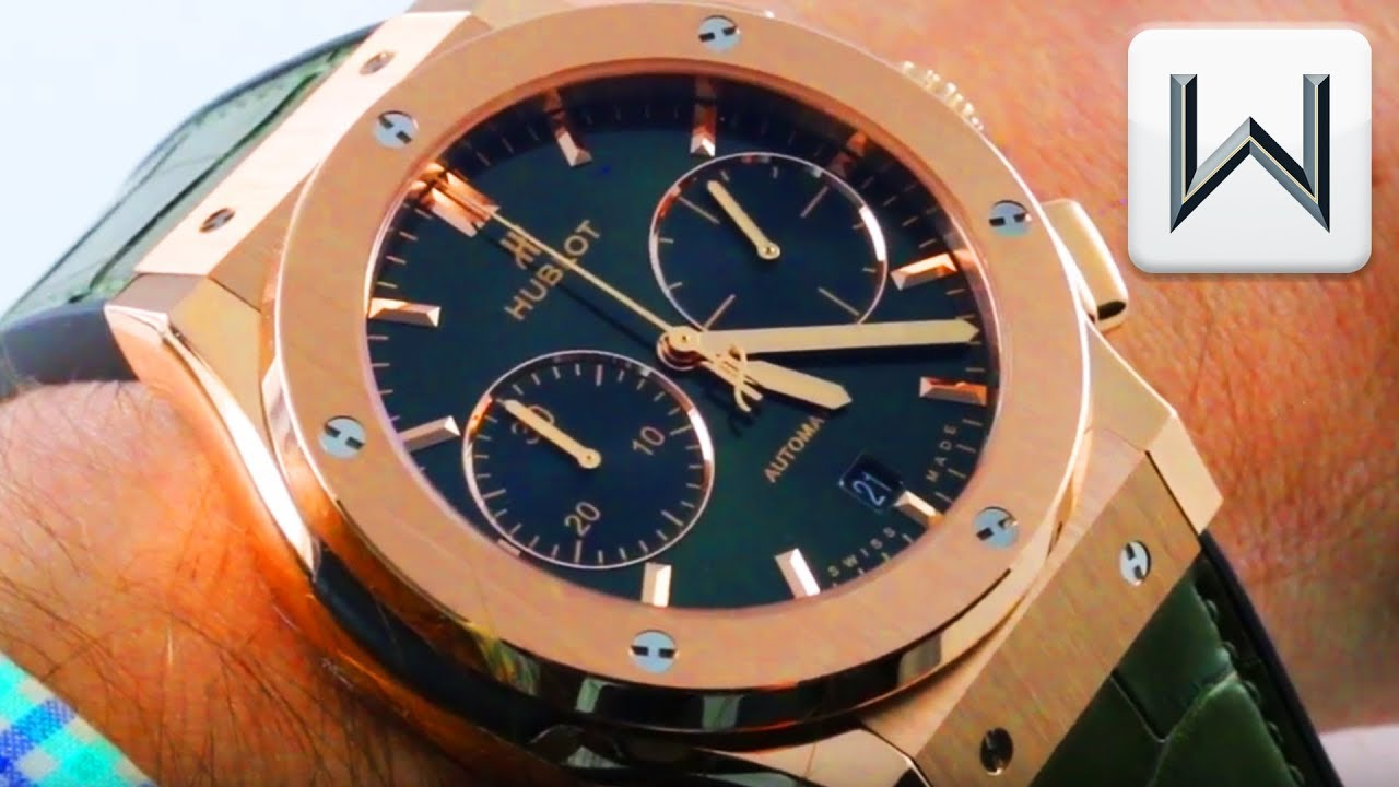 Hublot Classic Fusion Chronograph GREEN DIAL King Gold (521.OX.8980.LR) Luxury Watch Review
