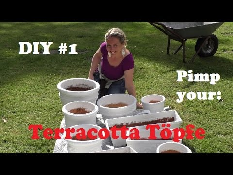 diy 1 alte terracotta t pfe optisch aufwerten youtube. Black Bedroom Furniture Sets. Home Design Ideas