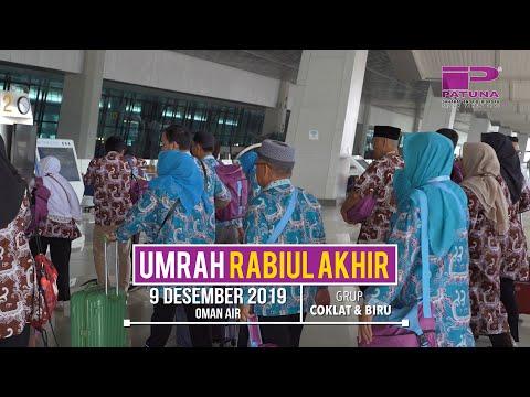PATUNA TRAVEL - Keberangkatan 19 Juni 2019 Jamaah Umrah Syawal Grup Coklat Muda, Coklat & Biru.