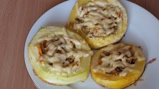 Вкусные фаршированные кабачки с курицей и сыром в духовке