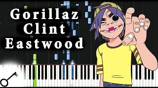 Gorillaz - Clint Eastwood [Piano Tutorial] Synthesia | passkeypiano