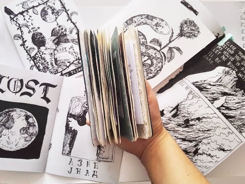 Art journal and ink sketchbook flip through + new zine
