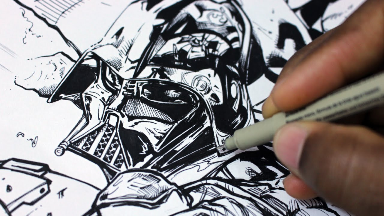 Drawing and Inking Darth Vader  Star Wars  Vader Down Cover from