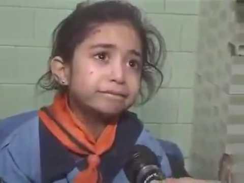 Aleppo  schoolgirl after school bombardment