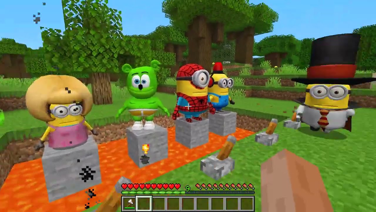 MINIONS.EXE ATTACK MY FAMILY in MINECRAFT ! Scary Minion vs Minions - Gameplay Movie trap
