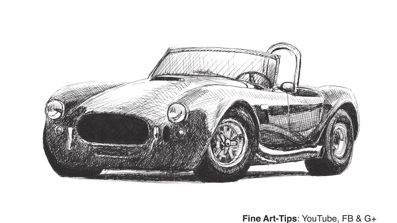 How To Draw A Shelby Cobra Car With A Falcon Fountain