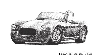 How to Draw a Shelby Cobra Car - With a Falcon Fountain Pen