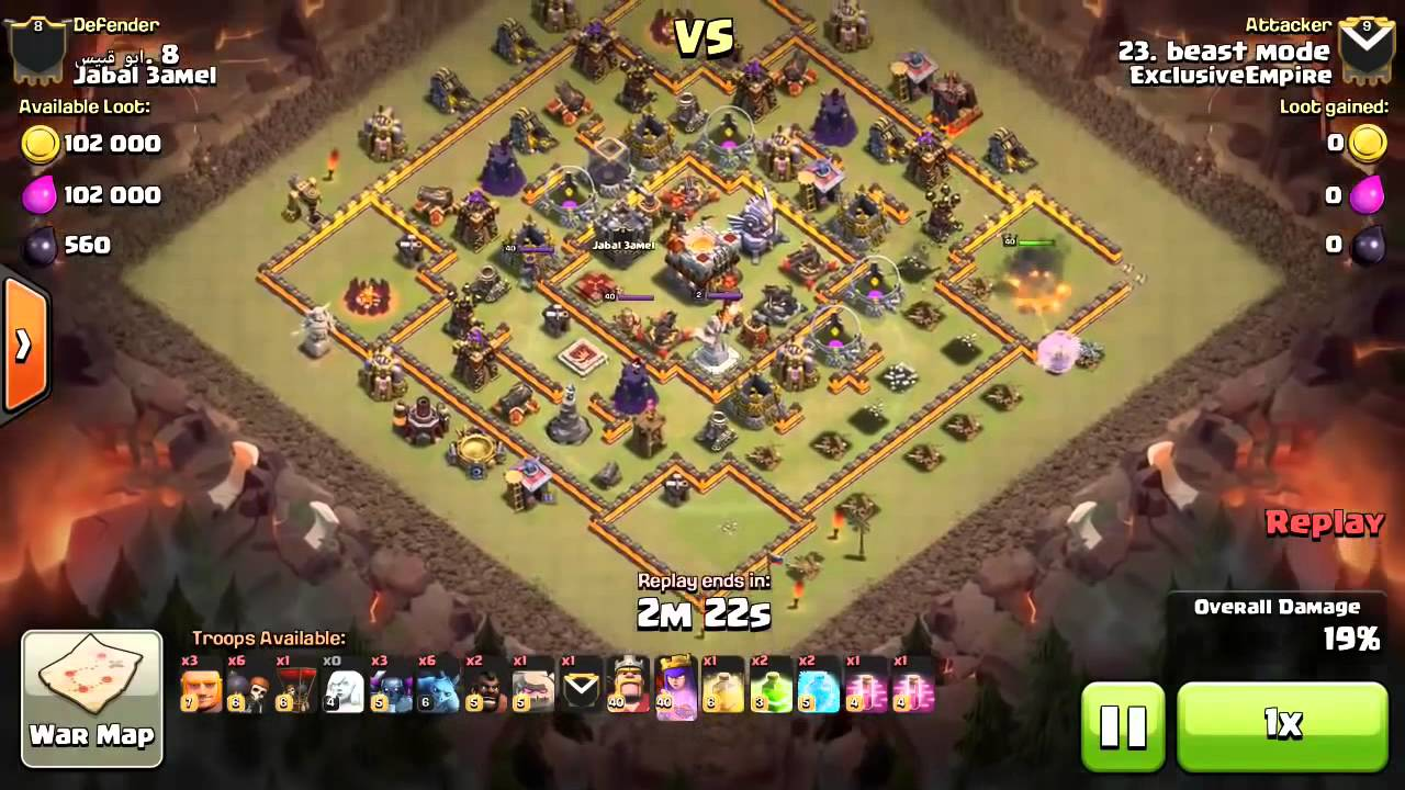 Clans 3 star war attack strategy th 10 vs th 11 max war base youtube