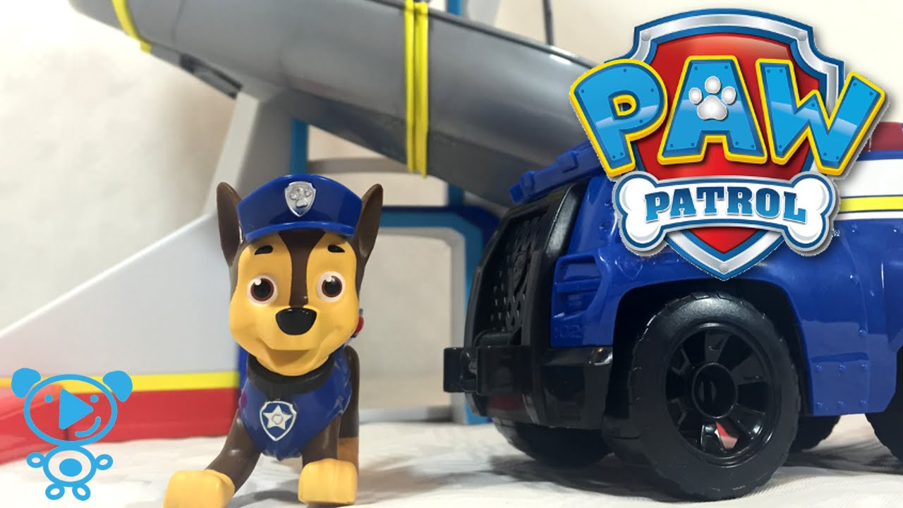 Paw Patrol Toys Lookout Chase Police Car Unboxing 4K Nickelodeon Video For Kids