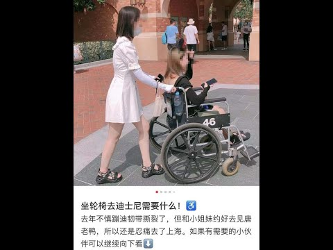懒得走 手脚正常青年租轮椅游上海迪士尼挨轰(图)