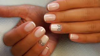 Дизайн ногтей гель-лак shellac - Дизайн стразами + френч (видео уроки дизайна ногтей)