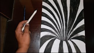 how to draw 3d hole in paper with pencil!! PAPER ART TRICK ILLUSION!!