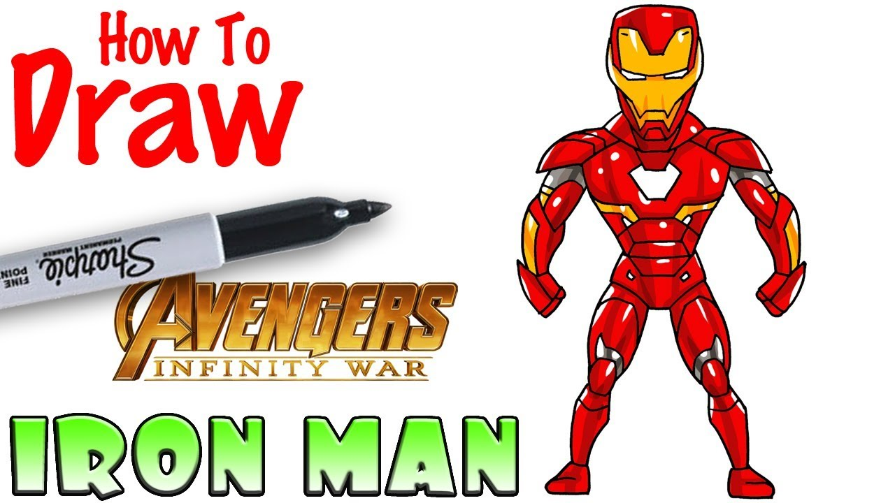 how to draw iron man | avengers infinity war - youtube