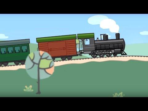 Grandes vehículos para niños pequeños. Locomotora de vapor. Dibujo animado de coches para niños