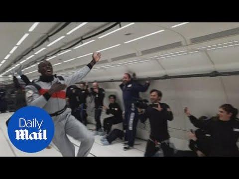 Usain Bolt sprints and drinks champagne in zero-gravity