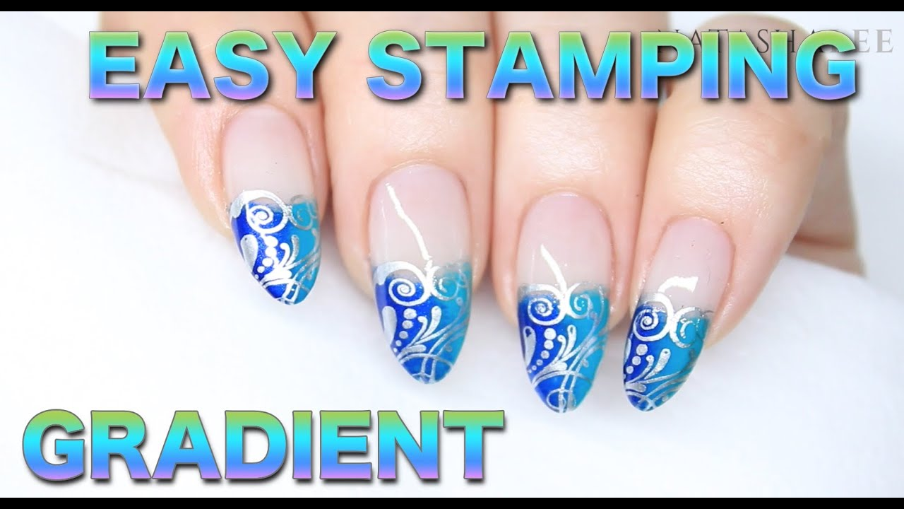 Scroll Stamping Nail Art With Sponge Gradient French Tips Youtube