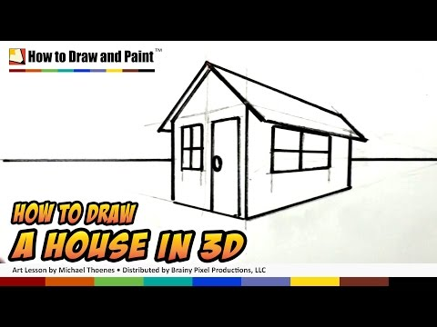 How To Draw A House In 3d For Kids Art For Kids Easy