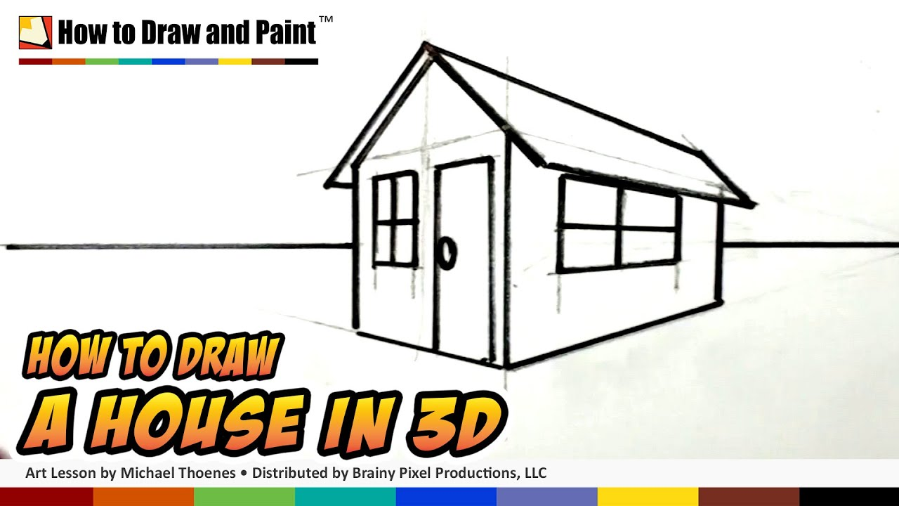 How To Draw A House In 3D For Kids