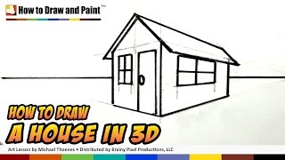 How to Draw a House in 3D for Kids -  Art for Kids - Easy Things to Draw | MAT