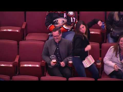 Anaheim Ducks Fans Dance Battle At Honda Center