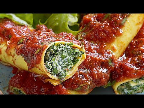 Baked Cannelloni With Spinach And Cottage Cheese