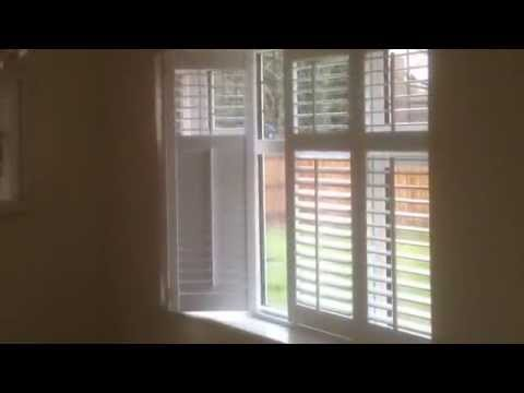 Plantation Shutters In Dining Area Across French Doors In Lichfield