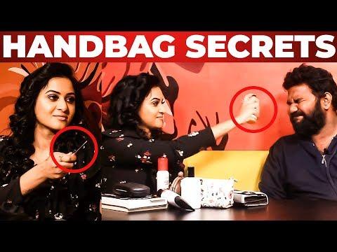 Janani Ashok Kumar Handbag Secrets Revealed by Vj Ashiq   What's Inside the HANDBAG