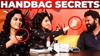 Janani Ashok Kumar Handbag Secrets Revealed by Vj Ashiq | What's Inside the HANDBAG