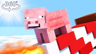 PIGS CAN FLY?! - Minecraft Roller Coaster - 360° Minecraft Video