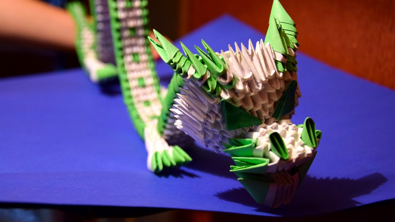 3d Origami Green Chinese Dragon Of Paper Tutorial Youtube