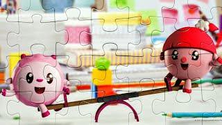 Малышарики - Собираем пазлы для детей Малышарики на качелях | Puzzle Time
