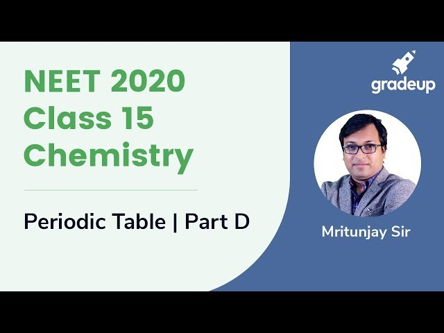 NEET 2020 | Periodic Table for NEET - Part D | Chemistry | Class 15