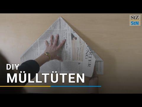 Mülltüte aus Zeitungspapier