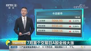 [中国财经报道]7月首个交易日A股全线大涨  CCTV财经