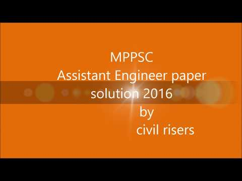 MPPSC : Technical paper of civil engineering 2016