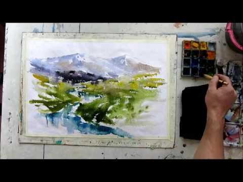 Landscape watercolor painting by Ali Golbaz