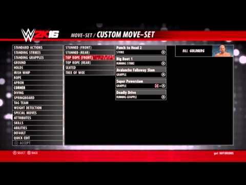 Goldberg moveset WWE 2K16