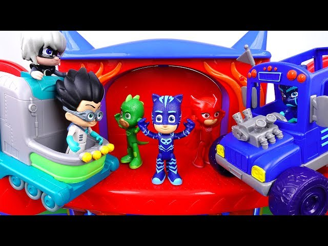 PJ Masks Vehicles Are Destroyed~! Romeo's Lab & Night Ninja's Bus
