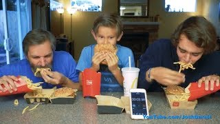 LOL OMG, Evan ate the whole thing!!! Grand Mac Meal Challenge FAIL, Josh Darnit Family Edition