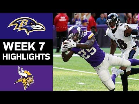 Ravens vs. Vikings | NFL Week 7 Game Highlights