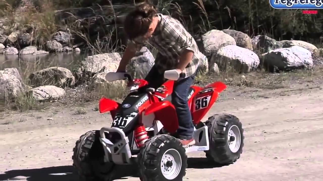 Peg perego quad polaris outlaw youtube for Peg perego polaris outlaw