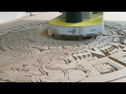Home made cnc router carving Aztec calendar