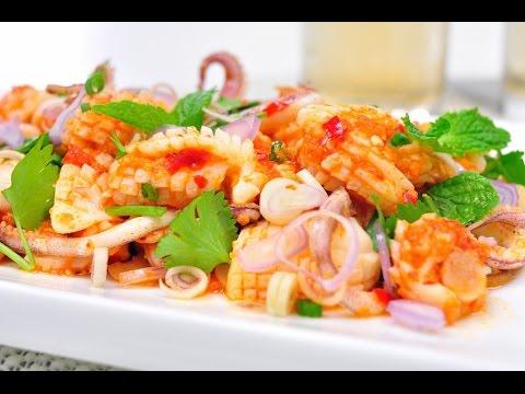 Thai Spicy Squid Salad – พล่าปลาหมึก (Phla Pla Muek) [4K]