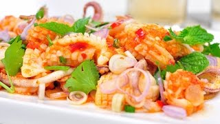 Thai Spicy Squid Salad - พล่าปลาหมึก (phla Pla Muek) [4k]