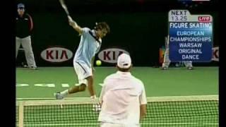 Роджер Федерер учит Энди Родика играть теннис- урок 1