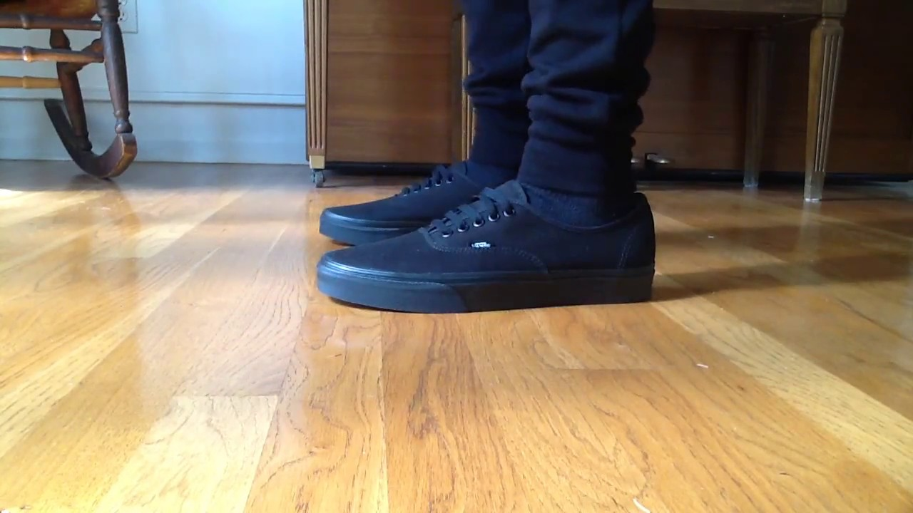 Vans Authentic All Black on feet - YouTube 1f5258392bb3