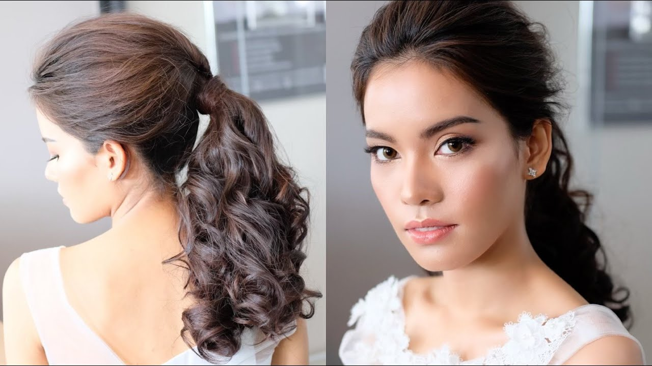 Simple And Beautiful Ponytail Hairstyles For Long Hair ทรงผมเจ้าสาวแบบหางม้าทำง่ายๆ โดยครูหญิง ภัครา